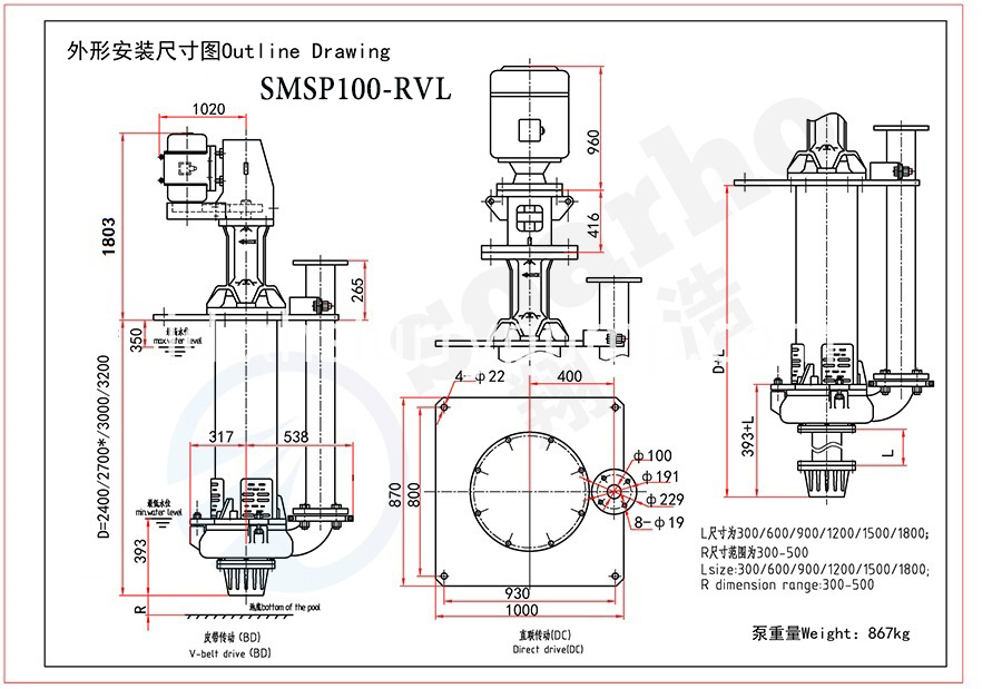 SMSP100-RVL outline drawing