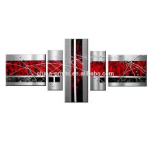 Pintados a mano de arte de la pared Líneas negras rojas / paisaje abstracto pintura al óleo sobre lienzo / pintura de lienzo de decoración para el hotel