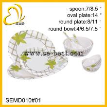 Louça de melamina 9PC; conjunto de jantar de melamina