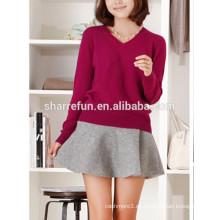 suéter de cachemira con cuello en v para mujer
