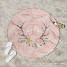 China maufacturer custom pink Lilly pattern girls women Round Beach Towel RBT-184
