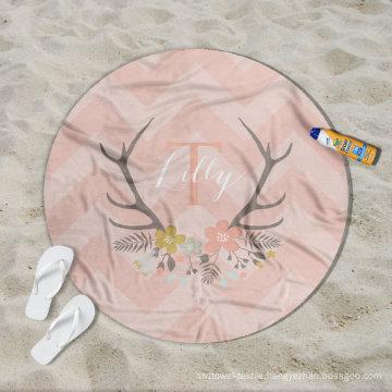 China maufacturer custom pink Lilly pattern girls women Round Beach Towel RBT-184