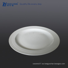 Placa blanca de la placa de cerámica del precio bajo de la etiqueta de 11 pulgadas, placa al por mayor para el restaurante