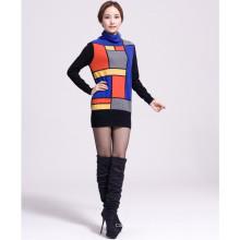 figura geométrica suéter de caxemira feminina