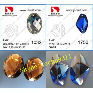 Nuevo Rhinestones cristal piedras planas (puede hacer dos agujeros)