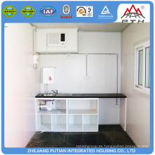 Casa temporal de la cocina del envase del bajo costo prefabricado de la alta calidad a la venta
