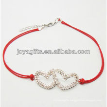 Red wire diamante double heart alloy woven bracelet
