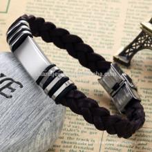 2015 nouvelle arrivée classique bijoux bracelet en acier inoxydable bracelet en cuir tressé conception de mode PH797