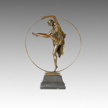 Tänzerin Statue Hula-Hoop Lady Bronze Skulptur, a. Godard TPE-358