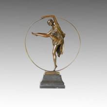 Estatua del bailarín Hula-Hoop Señora Bronce Escultura, a. Godard TPE-358