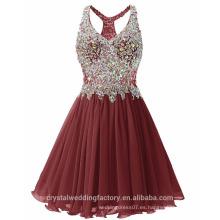 Los nuevos vestidos de partido del cuello de la gasa O del diseñador del cortocircuito atractivo de Alibaba o el vestido de noche LC06