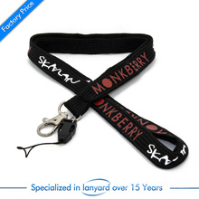 Wholesale Custom Screen Printed Tubular Woven Lanyard with Two Attachment Buckle for Mobile Phone