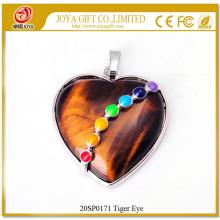 Colgante Seven Chakras Crystal Tiger Eye Heart
