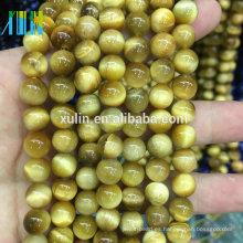 Venta al por mayor 6/8/10/12 mm bulk natural Gold Tiger Eyes cuentas de piedra semipreciosa de piedras preciosas para la joyería