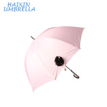 Women Promotion Flower Decorated 190T pongee Korea Popular Hot Sell Straight Ladies Fashion Umbrella Factory China