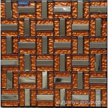 Aluminium dengan Orange Coffee Color Glass Mosaic