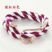 Wholesale Fashion Stainless Steel Rose Gold Fish Hook Accessories with Sailor Anchor Jewelry Flag Rope Bracelets Jewelry