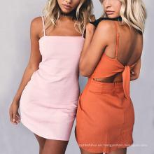 Las mujeres de moda de verano maxi vestido barato vendaje sexy correa boho beachwear bowknot vestido