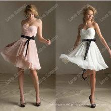 HC4278 A venda inteira A linha sem mangas Sweetheart Crystal Diamond Chiffon Black Ribbon vestidos de noite