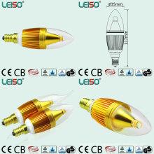 Bougies de couleur dorée de LED avec l'angle de faisceau de 330 degrés