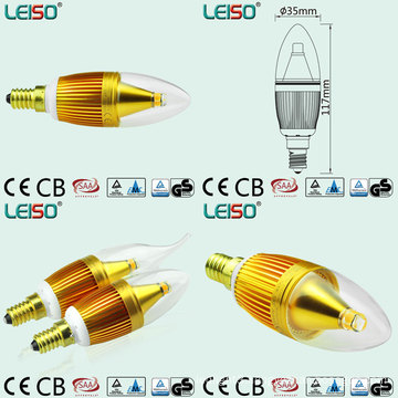 Golden Color LED Candles with 330 Degree Beam Angle