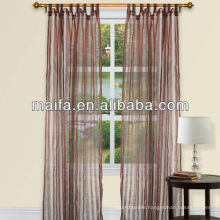Readymade Tab Top Stripe Design Sheer Curtain Panels