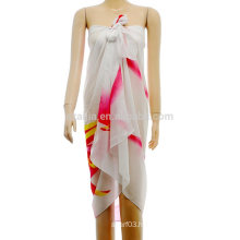 Fashion ladies printed stripe polyester chiffon sarong pareo