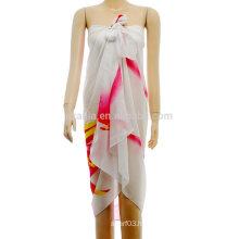 Fashion ladies printed stripe polyester chiffon sarong pareo