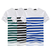 Fancy Stripes Stretch Cotton T Shirts with Variout Colors