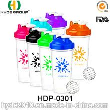 Botella plástica libre de la coctelera de la proteína de la venta 600ml BPA (HDP-0301)