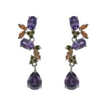 Boucles d'oreilles pendantes CZ multicolores rhodiées