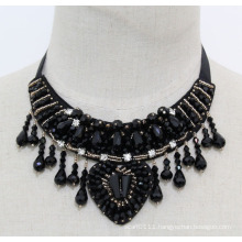 Ladies Beaded Crystal Fashion Charm Chunky Bib Costume Necklace (JE0023)