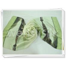 Tissu écharpe en soie carrée avec finition d'impression