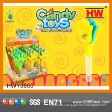 Caramelo suave de la chapaleta plástica divertida con los juguetes (caja de 12pcs / Display)