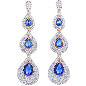 Wholesale Blue Diamond Wedding Earrings