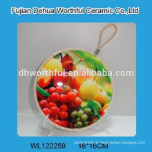 Promoção fruite titulares de pote de cerâmica forma com corda de elevação
