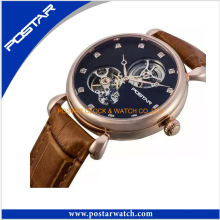 Hot Model Automatic Skeleton Watch with Genuine Leather