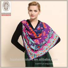 Geometria contraste de cores 100% lã lenço 2014 mulheres inverno cachecol