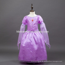 Fornecimento de fábrica Nova moda roxo cor longo stlye Rapunzel princesa vestido para crianças partido desgaste