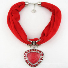 High quality fashion necklace polyester jewelry tassel scarf red heart pendant scarf