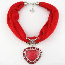 Moda de alta qualidade colar de poliéster jóias borla cachecol lenço pingente de coração vermelho