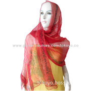Silk scarf with metallic and printed, for summer, yarn dyed then printing, measures 180*70cm
