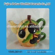Popular handpainting oliva de diseño tetera de cerámica con la taza