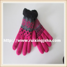 women coral fleece cuff knitted gloves