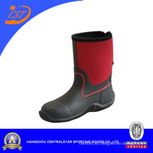 Botas de lluvia de moda unisex superior de neopreno rojo para niños (66310)