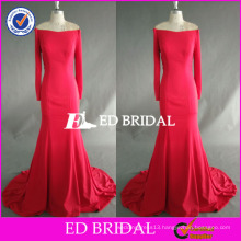 ED Bridal Supplier Fuchsia Off Shoulder Long Sleeve Floor Length Mermaid Long Party Dress