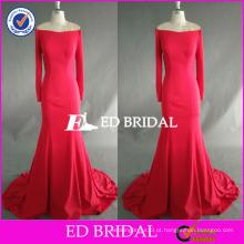 ED Bridal Supplier Fuchsia Off Shoulder Long Sleeve Andar Comprimento Sereia Long Party Dress