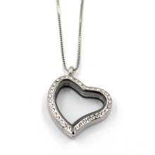 Stainless Steel Heart Shape Floating Locket Pendant Necklace Jewelry