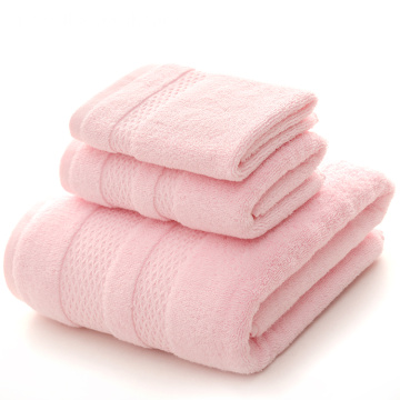 Cotton Pink Bath Towels with Dobby Satin