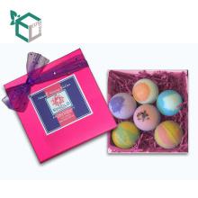 Lovely Pink Design Packaging Bath Bomb Set Pack para un cuidado de la piel perfecto